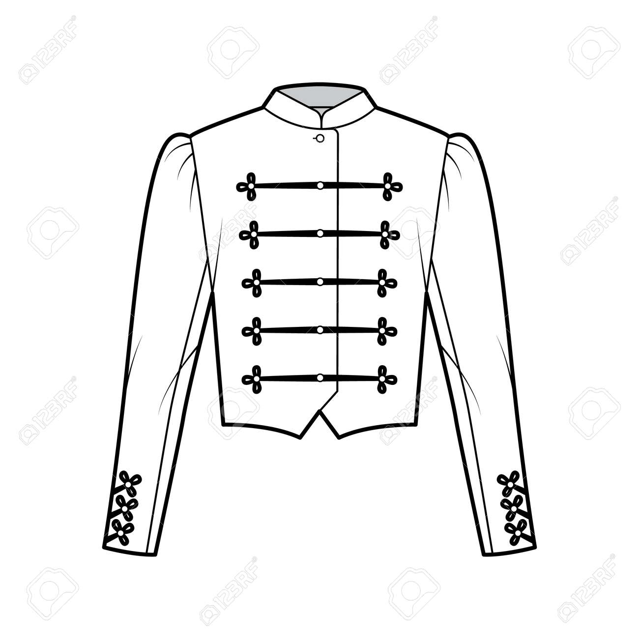 Majorette jacket technical fashion illustration with crop length, long leg o Mutton sleeves, stand collar, button frog closure. Flat blazer template front, white color style. Women, men CAD mockup - 166631613