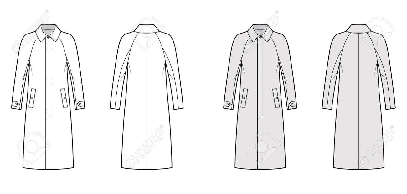 Mackintosh coat technical fashion illustration with raglan long sleeves, regular collar, midi length. Flat rubber jacket template front, back, white, grey color style. Women, men unisex top CAD mockup - 166716782