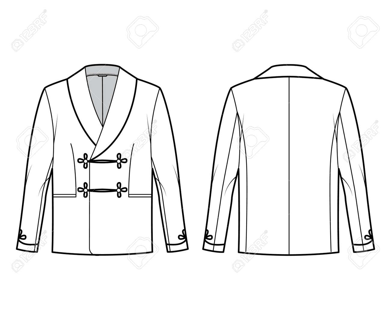 Smoking jacket technical fashion illustration with double breasted, long sleeves, shawl collar, besom pockets. Flat pajama top coat template front, back, white color style. Women men unisex CAD mockup - 166844717
