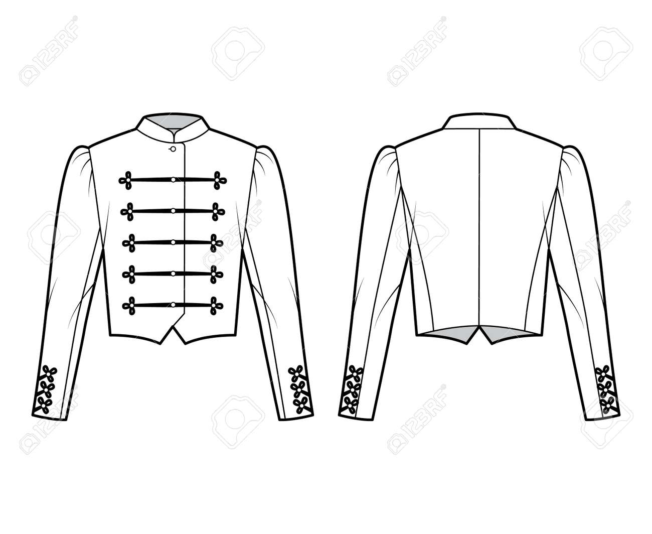 Majorette jacket technical fashion illustration with crop length, long leg o Mutton sleeves, stand collar, button frog closure. Flat blazer template front, back white color style. Women men CAD mockup - 166844729