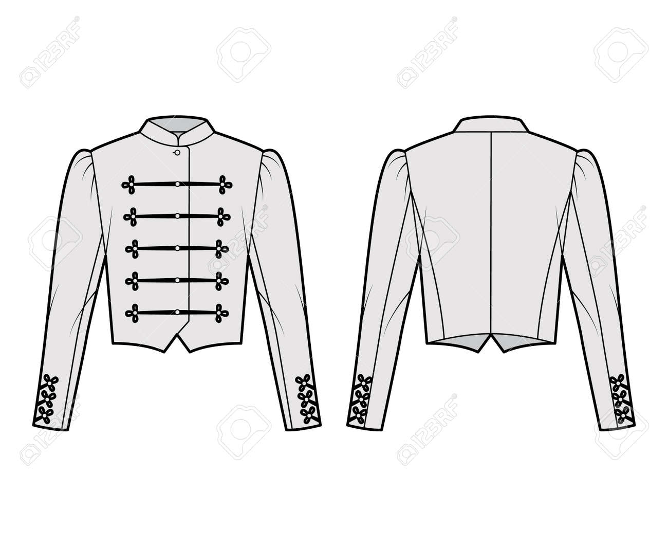 Majorette jacket technical fashion illustration with crop length, long leg o Mutton sleeves, stand collar, button frog closure. Flat blazer template front, back grey color style. Women, men CAD mockup - 166898957