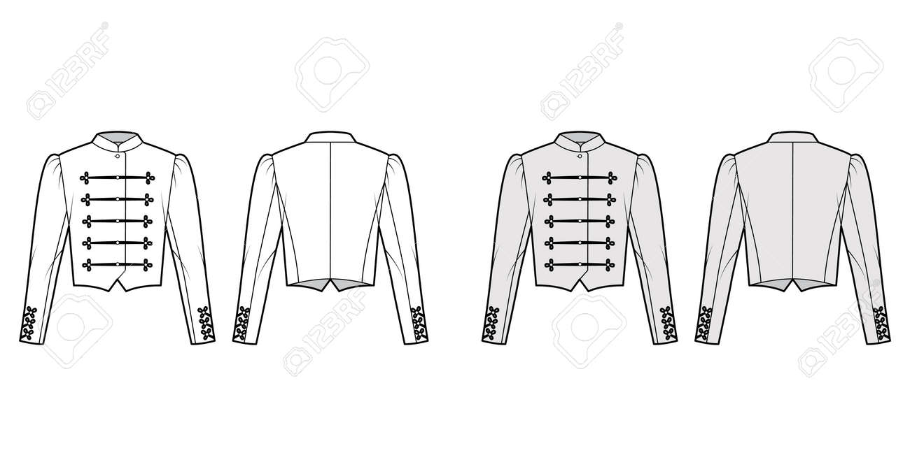 Majorette jacket technical fashion illustration with crop length, long leg o Mutton sleeves, stand collar, button frog closure. Flat blazer template front, back, white, grey color. Women CAD mockup - 166991591