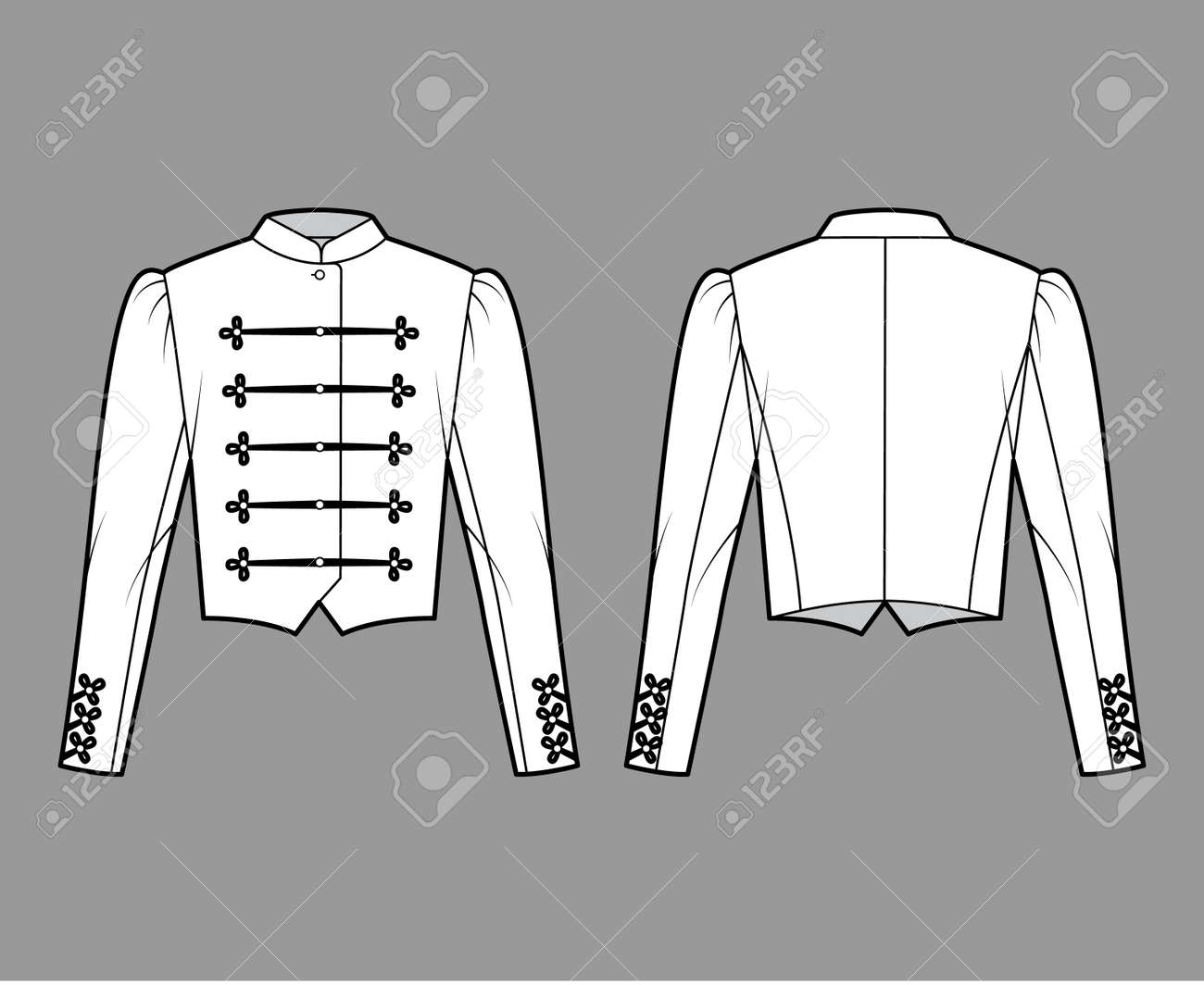 Majorette jacket technical fashion illustration with crop length, long leg o Mutton sleeves, stand collar, button frog closure. Flat blazer template front, back white color style. Women men CAD mockup - 167053558