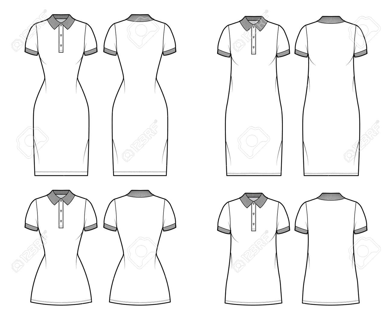 Set of Dresses polo fashion illustration with short sleeves, oversized fitted body, knee mini length pencil skirt, henley neckline. Flat apparel front, back, white color. Women, men unisex CAD mockup - 169770212