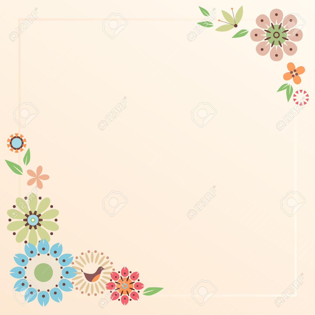 Floral card with decorative flowers and bird  Template for scrap