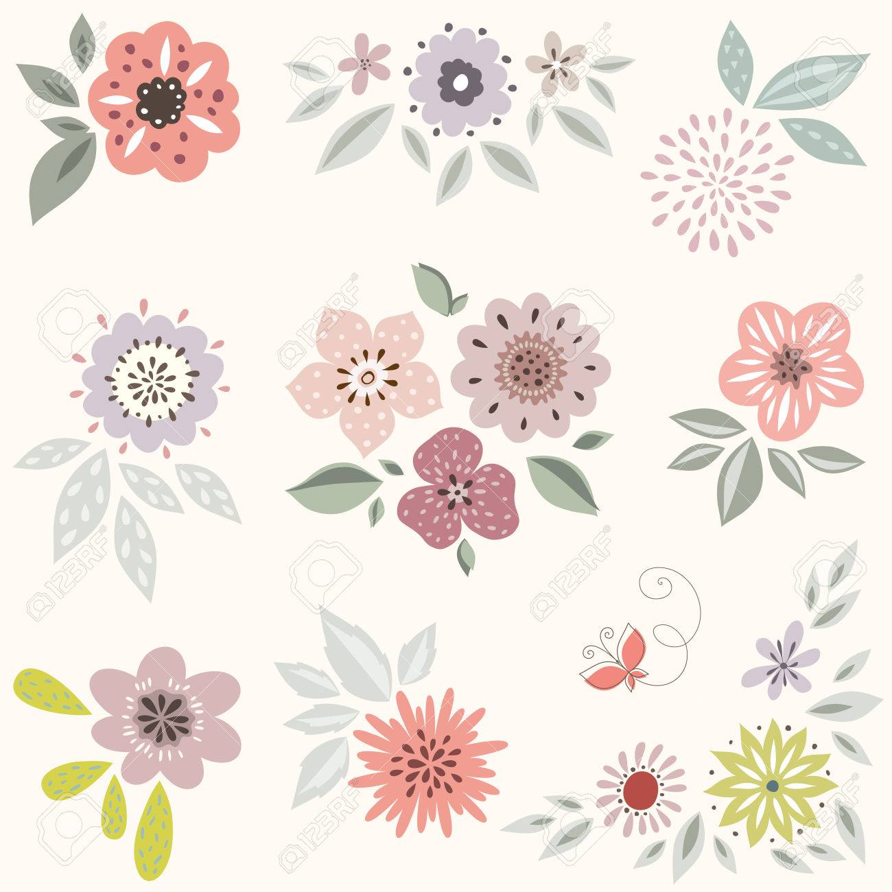 How to scrapbook good - Vector Vector Decorative Floral Set Good For Birthday Cards Wedding Invitations And Scrapbook