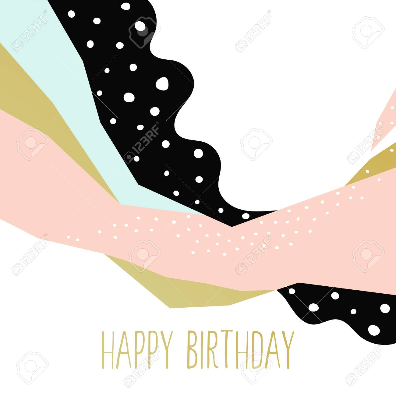 Happy Birthday Card. Contemporary Card Design With Abstract ...