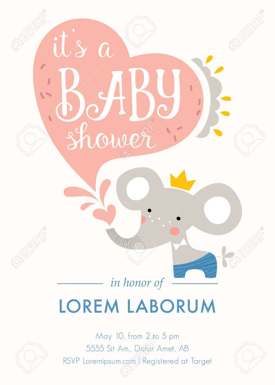 baby shower invitation template card design with baby elephant