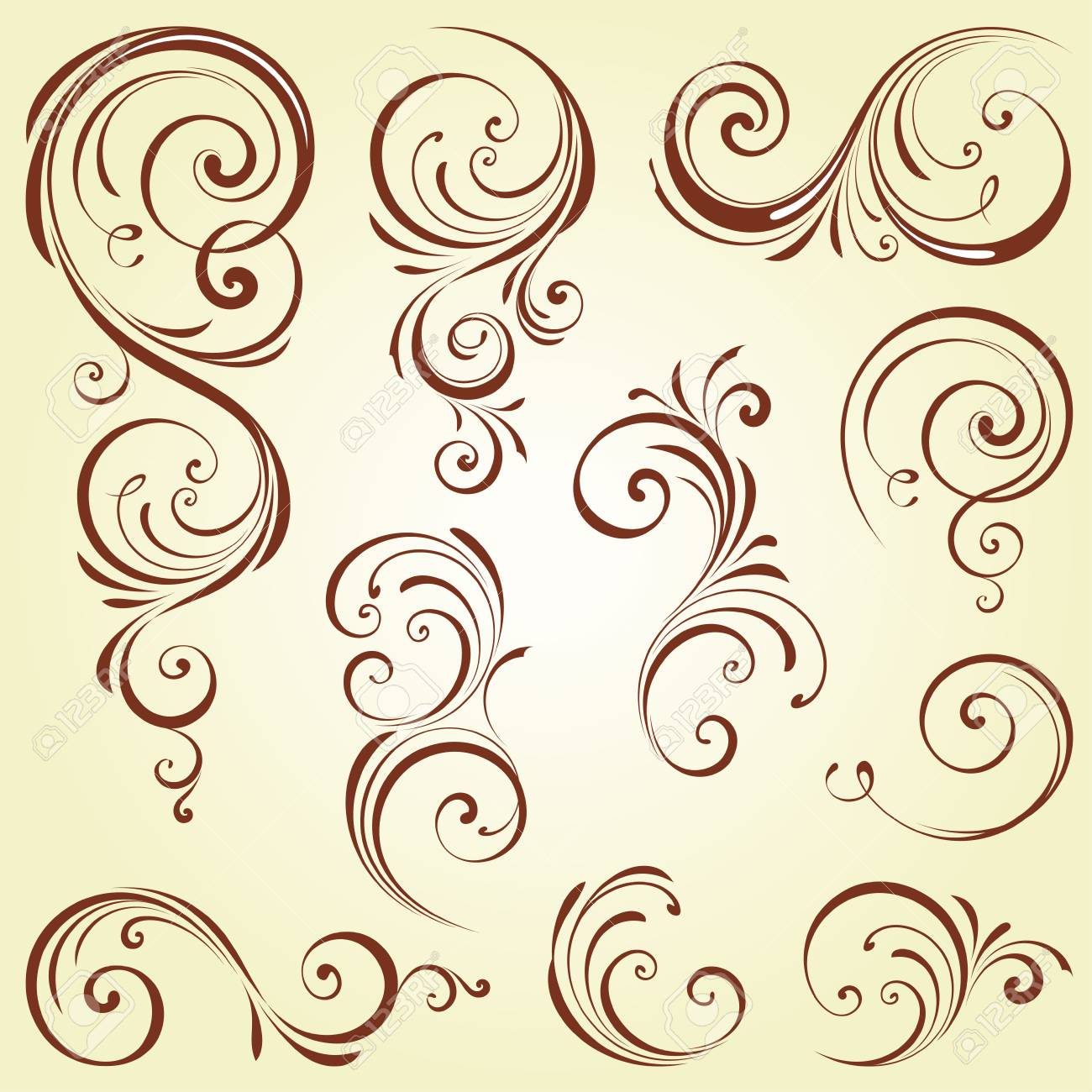 Ornate Swirl Motifs. Use For Vintage Wedding Invitations, Royal ...
