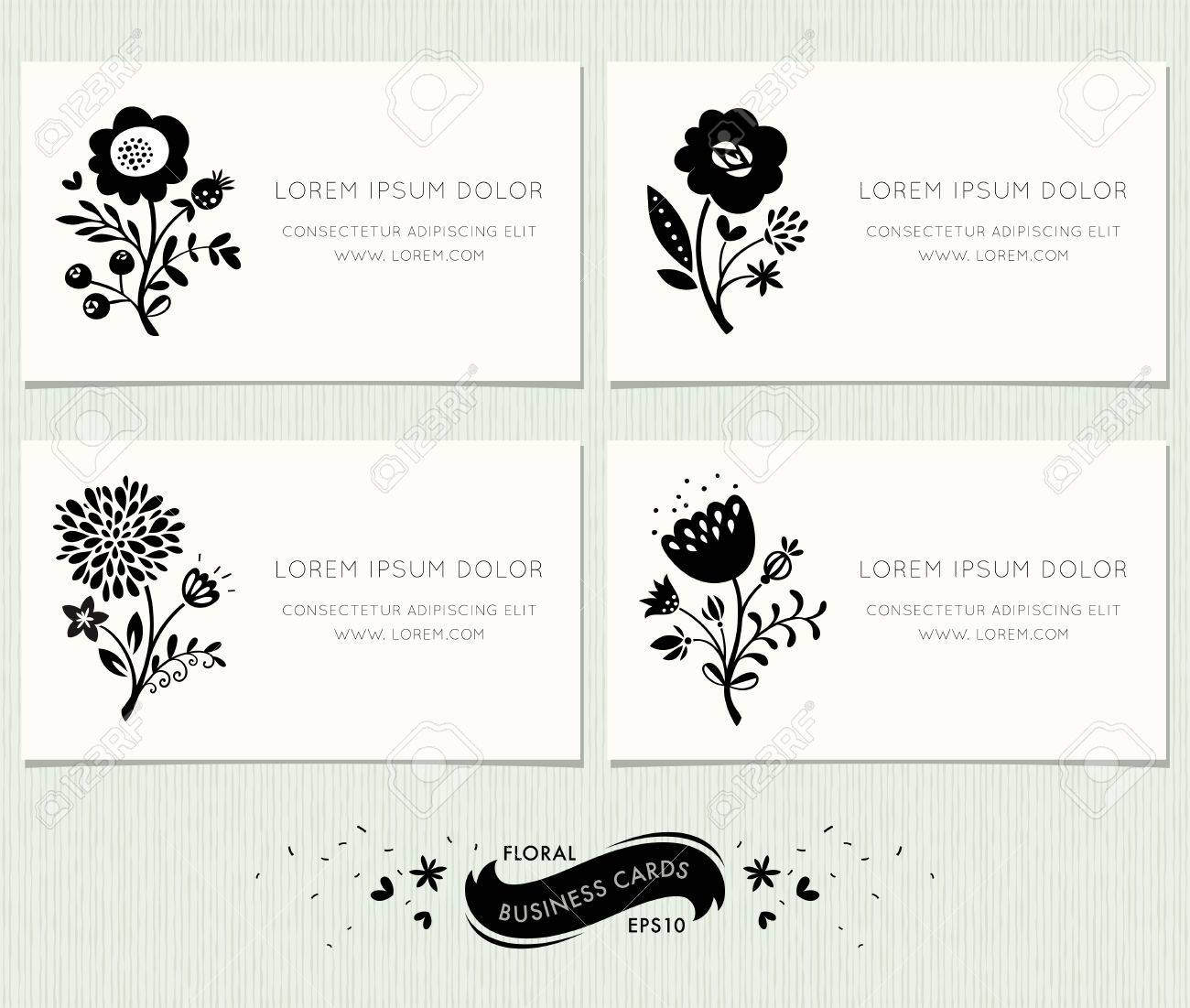 Set of floral business cards. Ornate floral design in modern style with decorative floral elements. Complied with the standard sizes. - 60000901