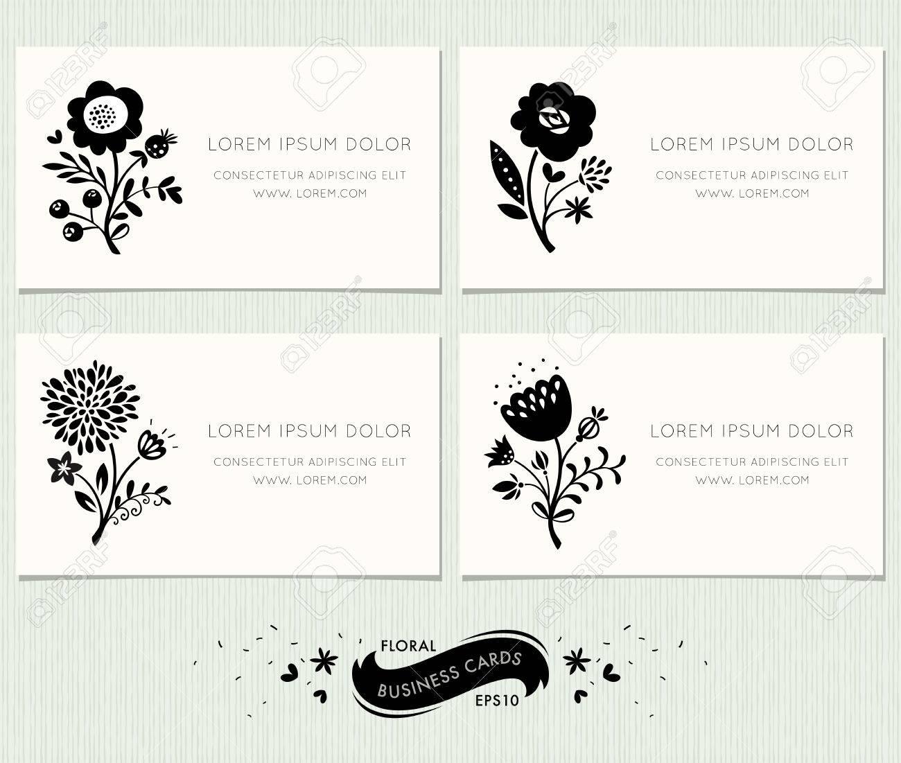 Jeu De Cartes Visite Floraux Ornement Design Floral Dans Un