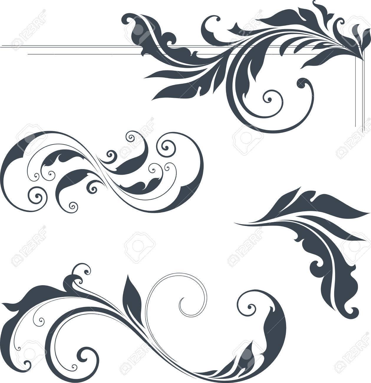 Vector swirl ornate motifs use for wedding invitations royal vector swirl ornate motifs use for wedding invitations royal certificates greeting cards stopboris Choice Image