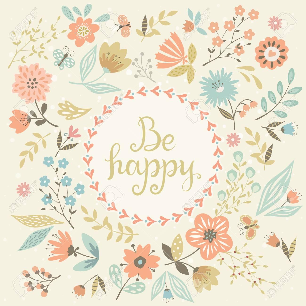 ベクトル花カード 丸いフレームに手書きの文字 のイラスト素材 ベクタ Image