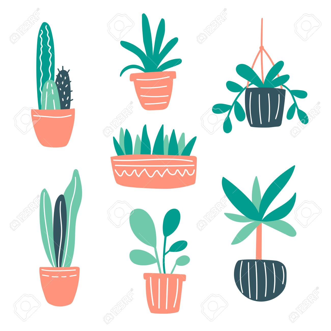 Vector illustration with home plants collection set. Cute doodle plants growing in pots. Green home gardening concept for decor, design, poster, blog. Plants are friends. Cacti and succulents doodle - 150702463