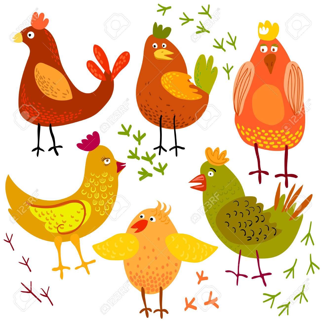 かわいい漫画鶏のベクター イラストです。鳥の背景に分離されました