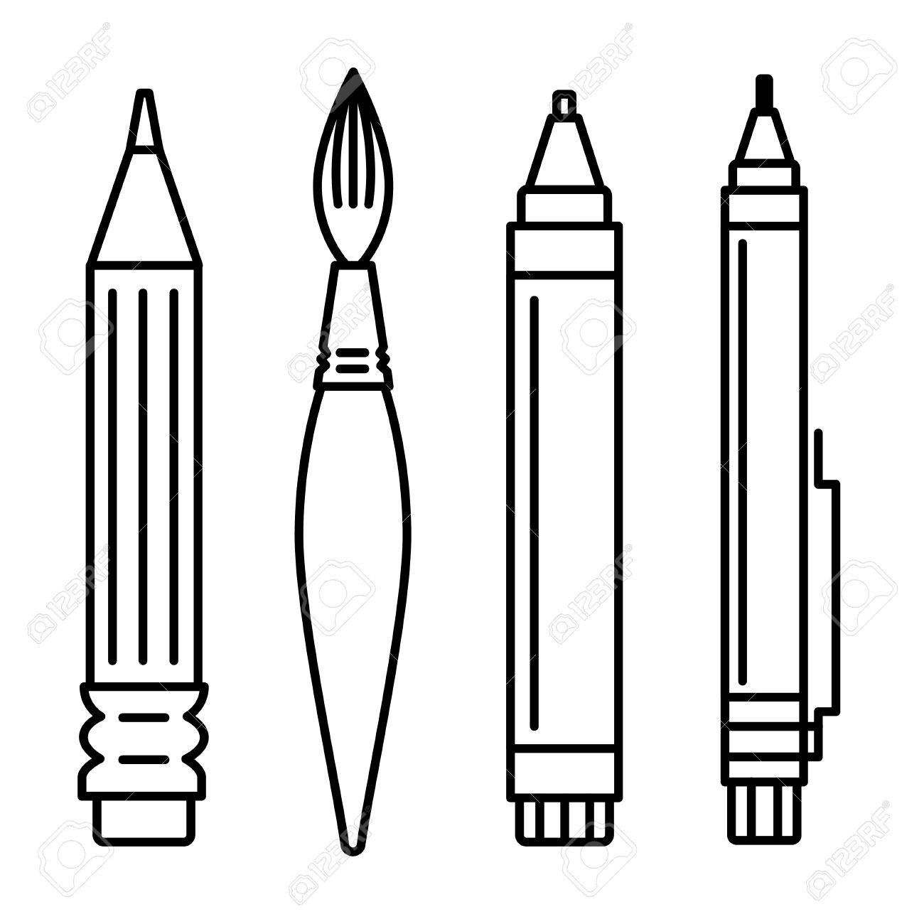 Line art vector illustration set of icons for art supplies art tools for painting