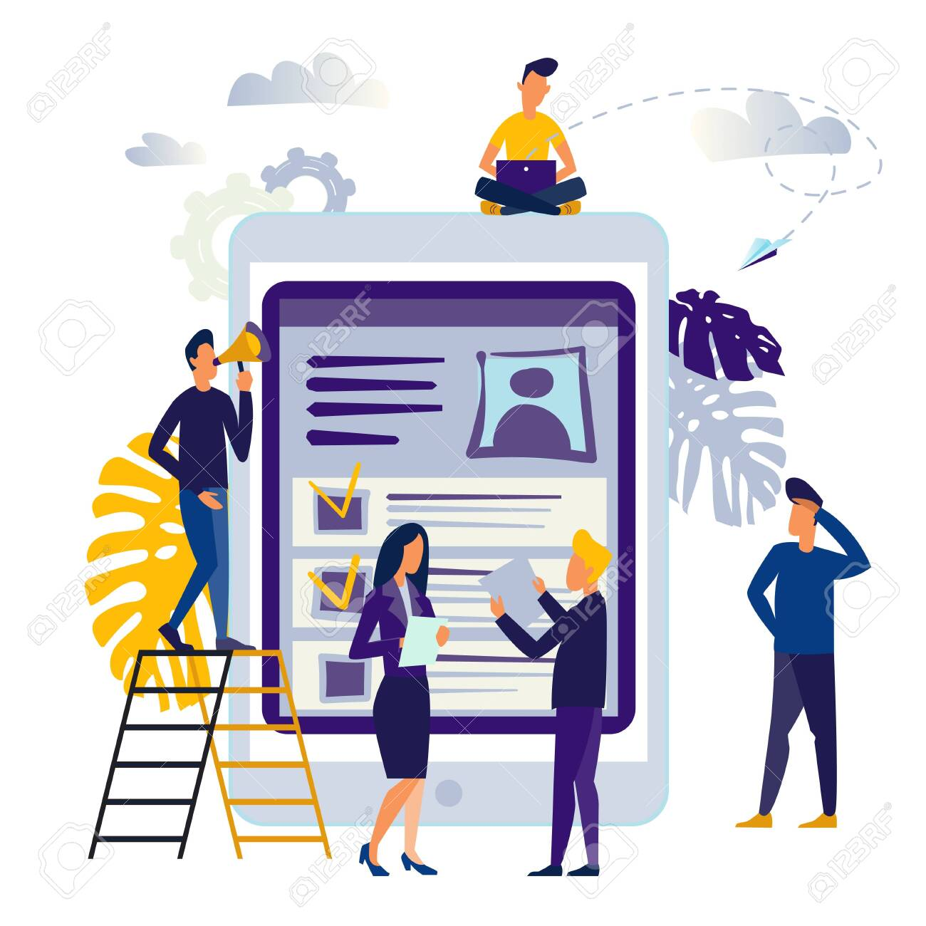 vector illustration design concept on white background. metaphor for candidates for vacancies, review of summaries. small people are studying the application form - 142818958