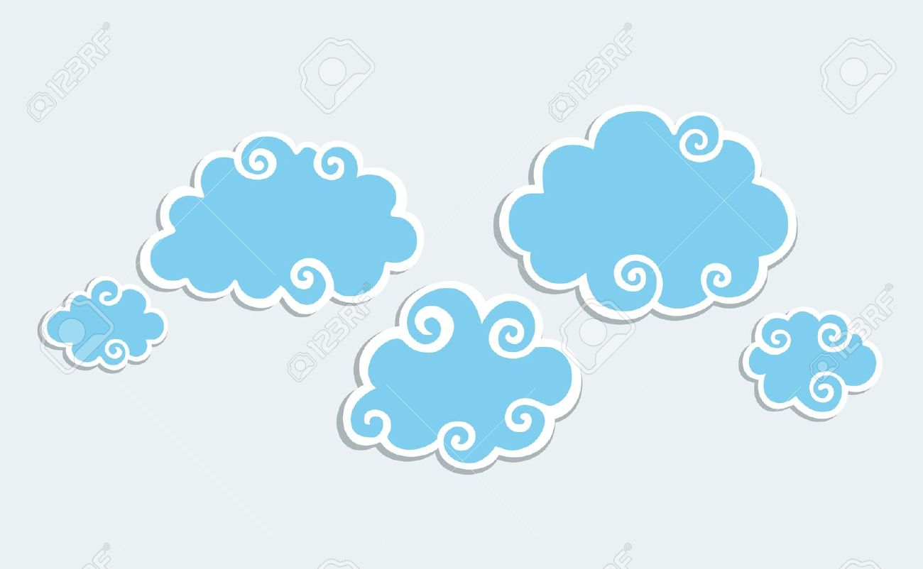 Blue Clouds with White Border. Stock Vector - 11657975