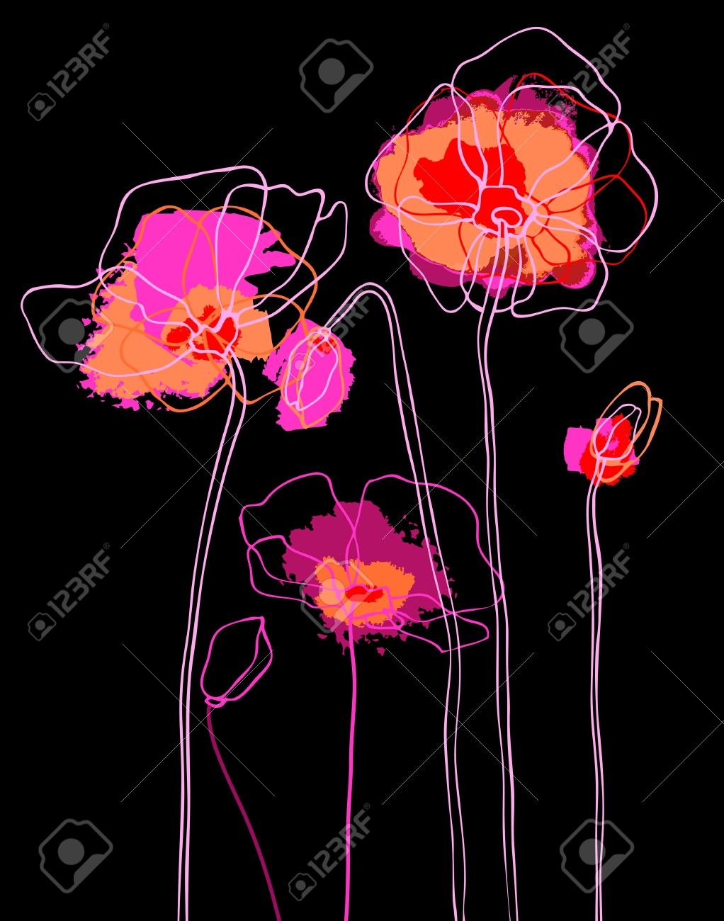 Pink  poppies on a black background Stock Vector - 12486688