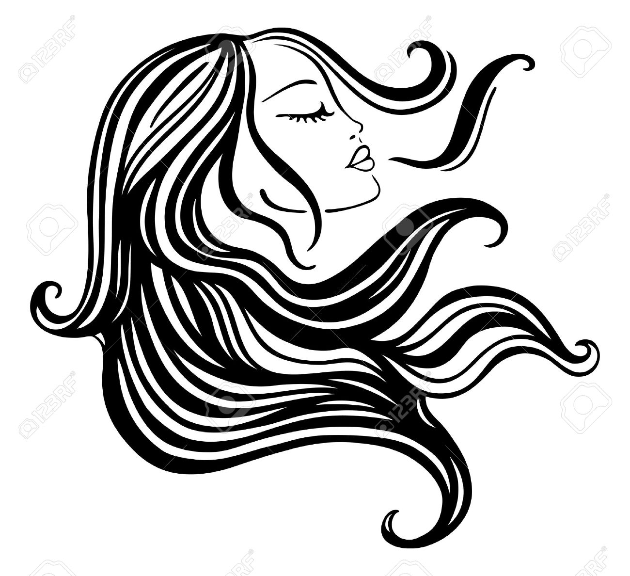 beautiful woman with long hair vector illustration royalty free rh 123rf com vector hair testing vector hair removal
