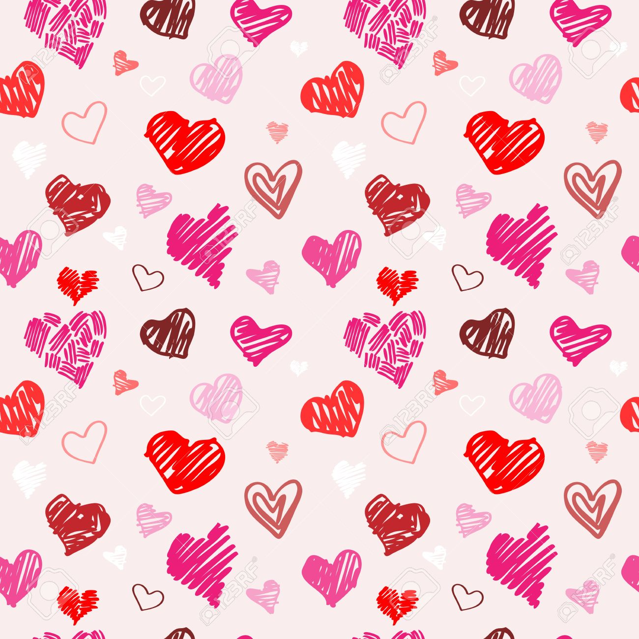 abstract background love heart seamless vector pattern royalty free