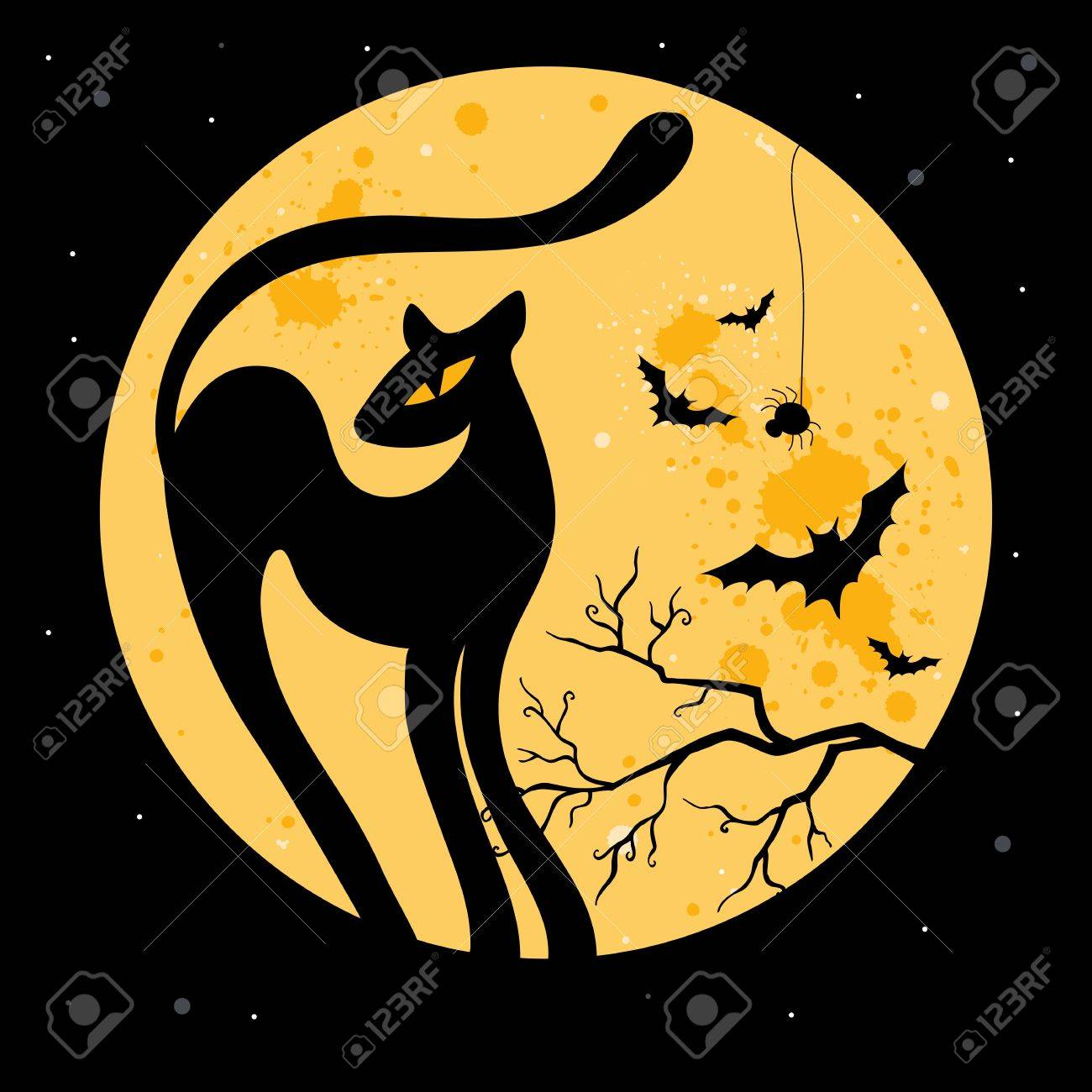 vector halloween illustration with black cat silhouette stock vector 14874817 - Black Cat Silhouette Halloween