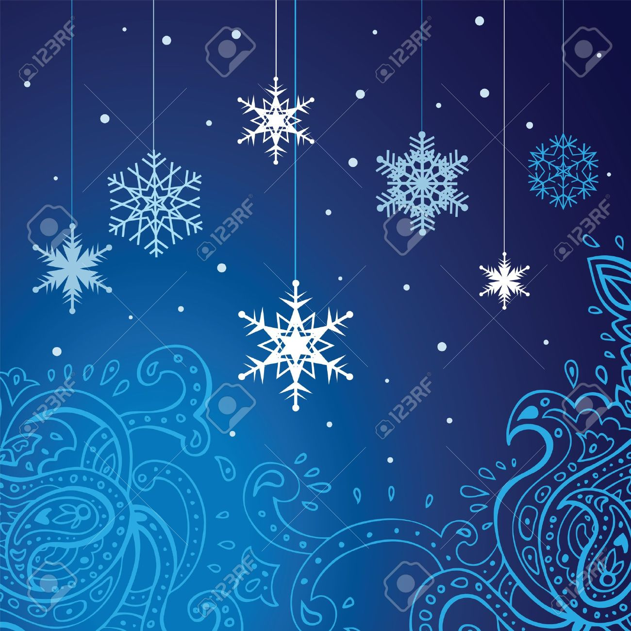 Winter snowflakes background  New Year illustration Stock Vector - 15095144