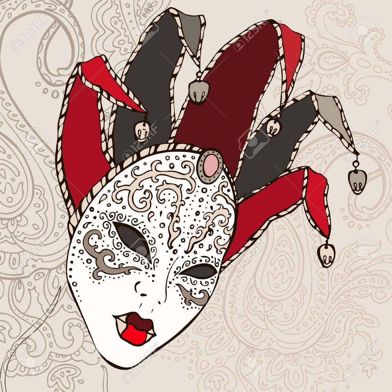 Hand Drawn Venecian  carnival mask background Stock Vector - 15095148