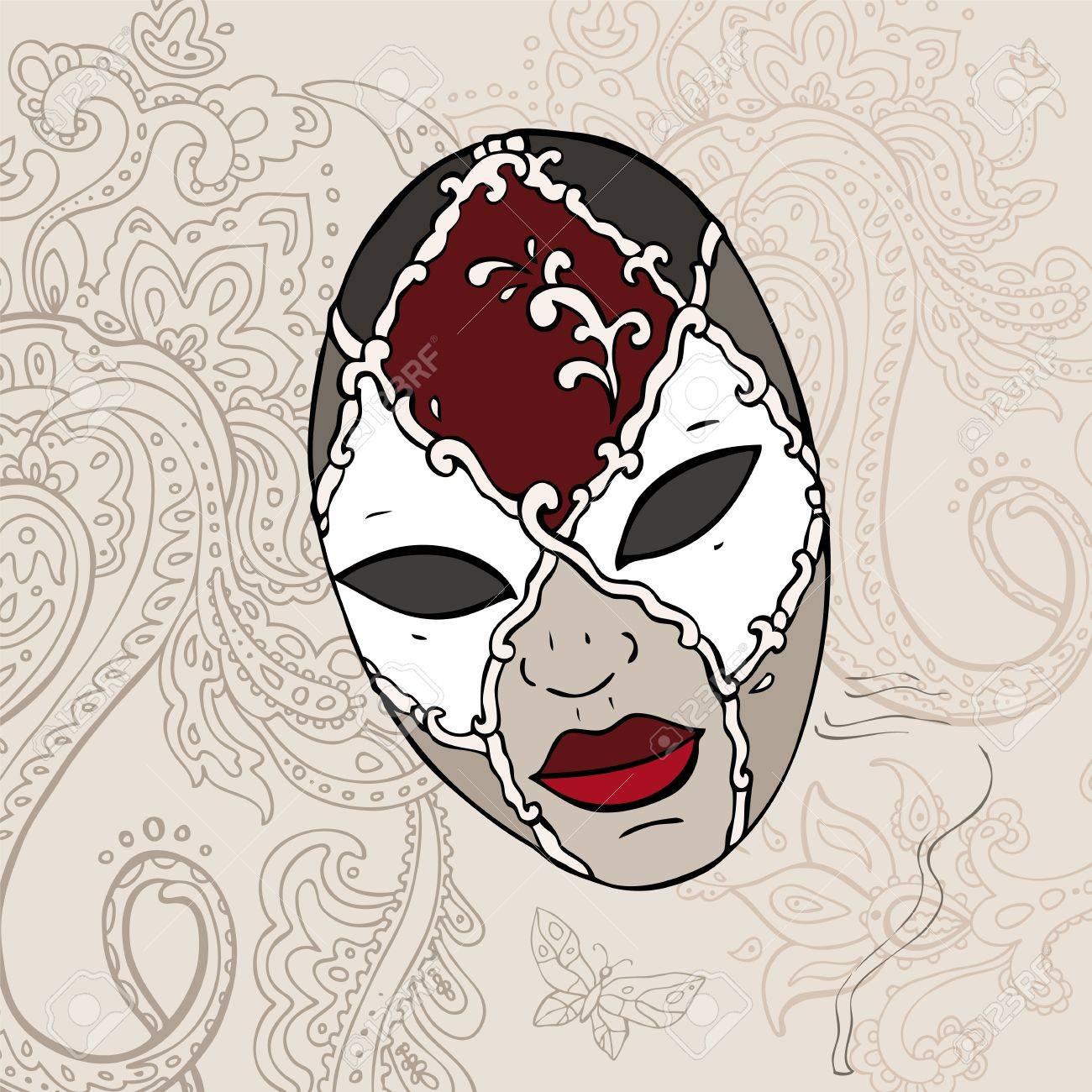 Hand Drawn Venetian  carnival mask background Stock Vector - 15399185