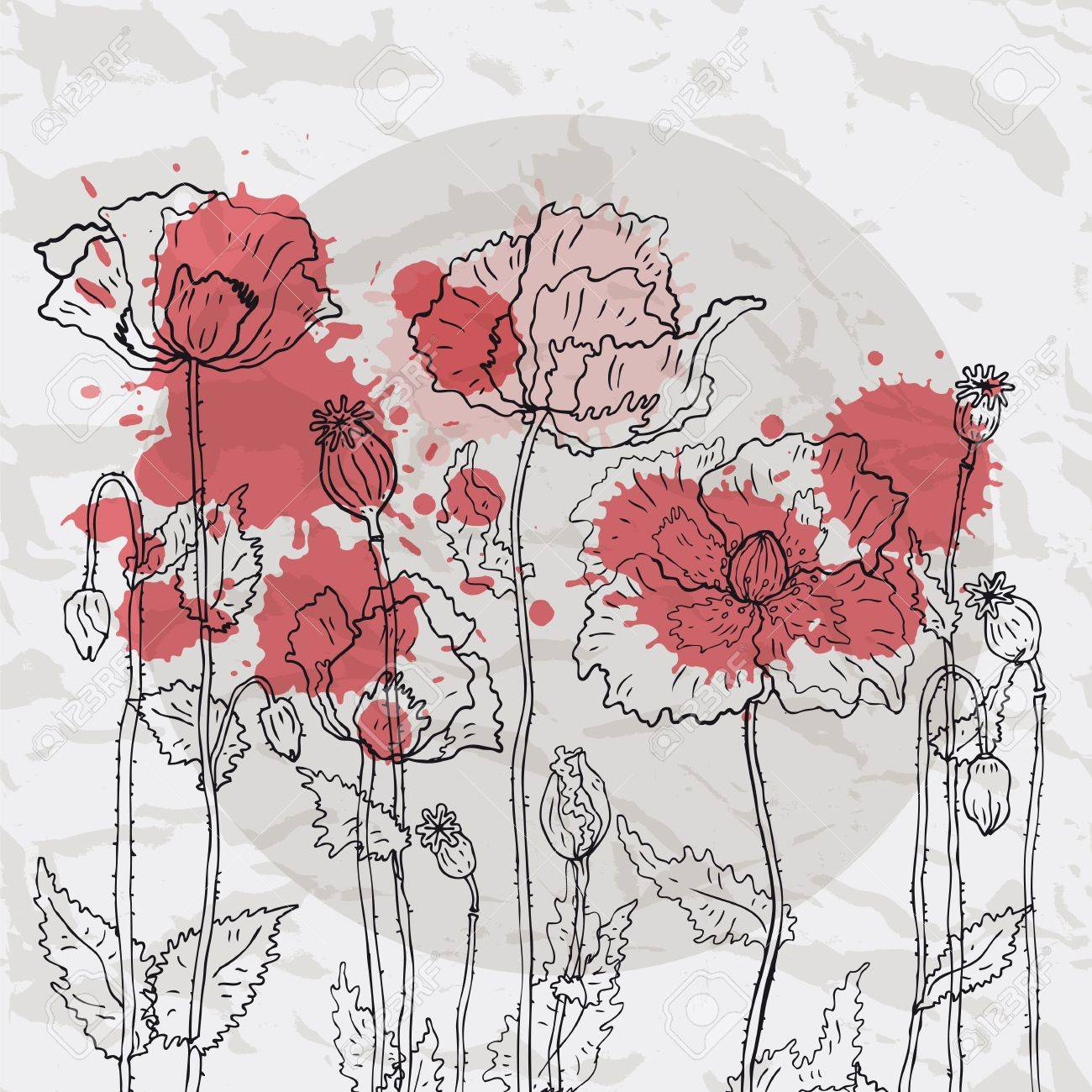 Poppies on crumpled paper background Stock Vector - 15399183