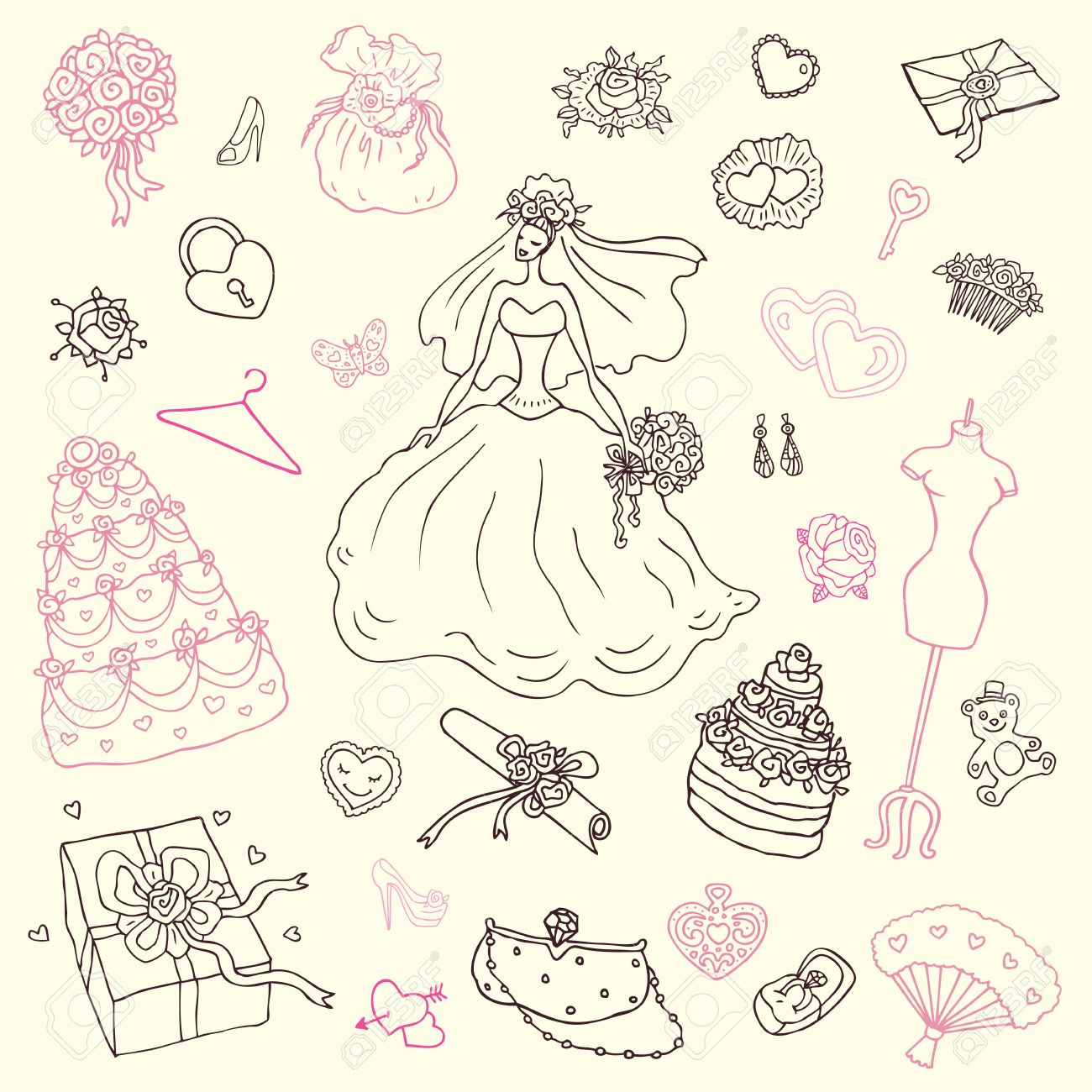 かわいい手描きイラストの結婚式セット