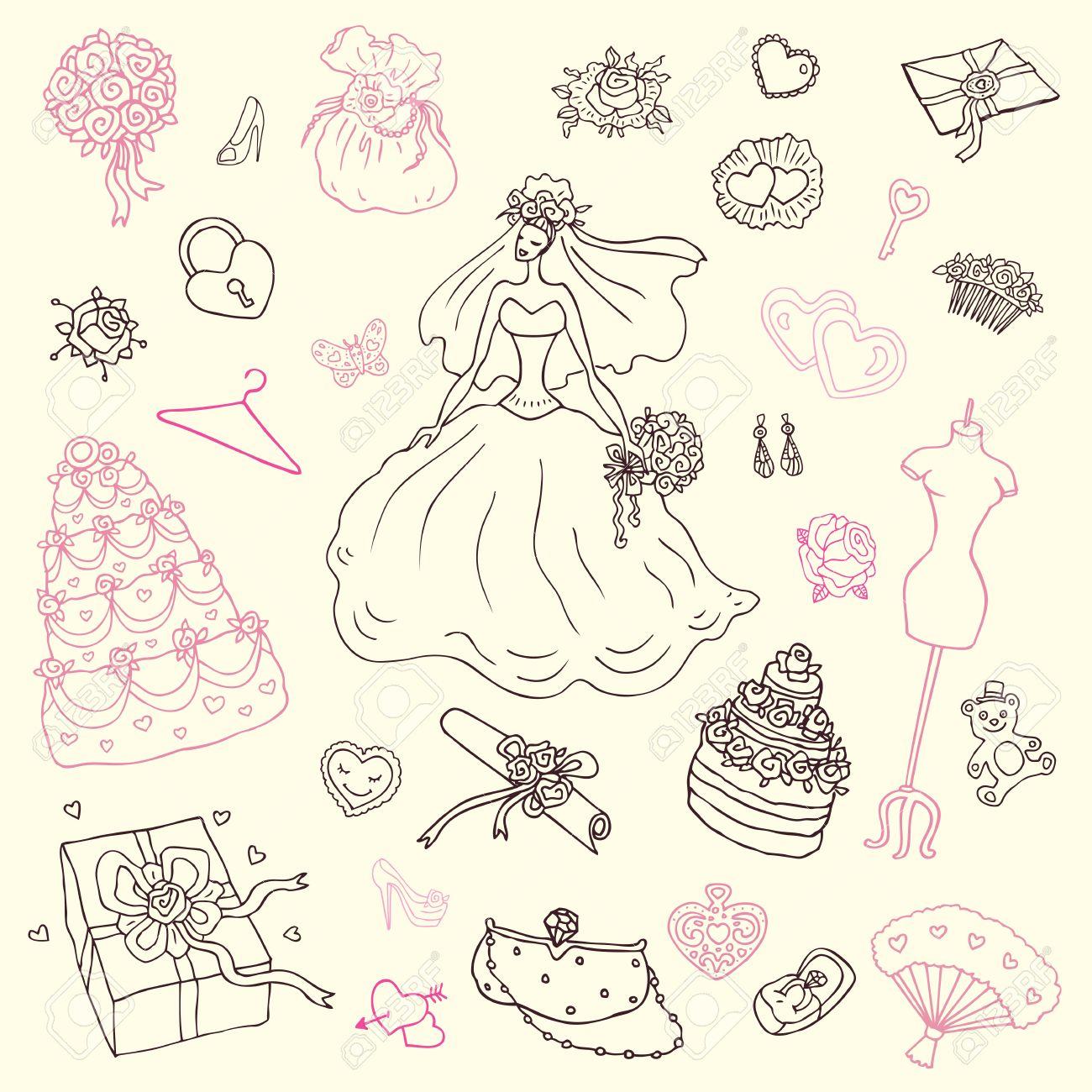 かわいい手描きイラストの結婚式セット ロイヤリティフリークリップ