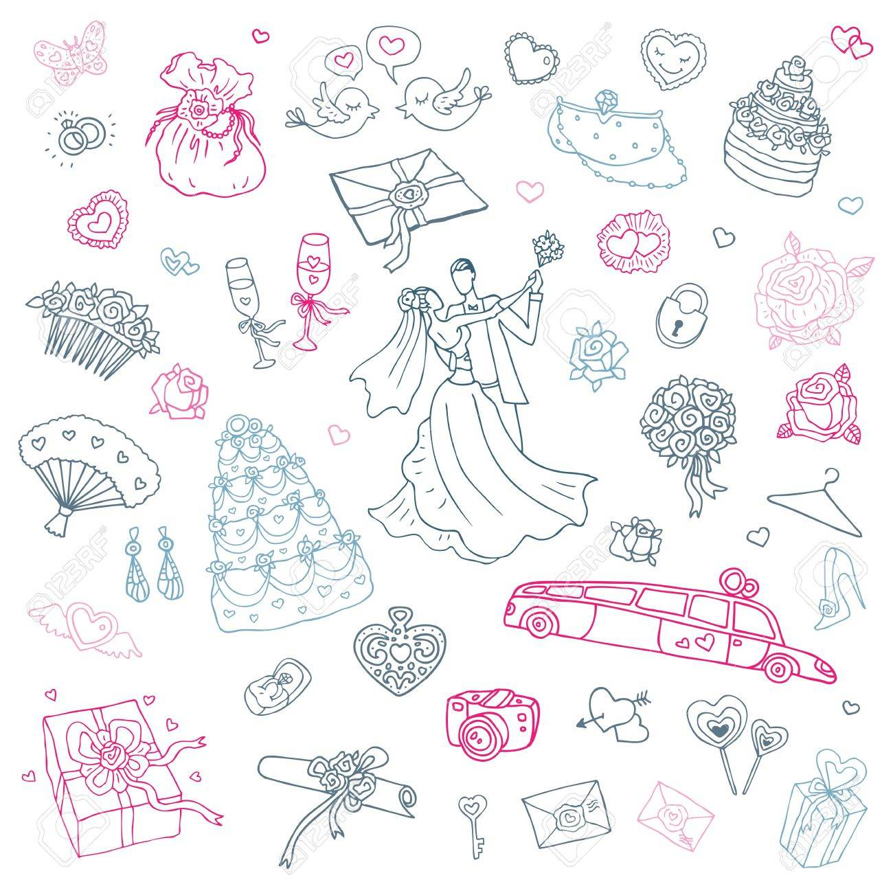 かわいい手描きイラストの結婚式セットのイラスト素材 ベクタ Image