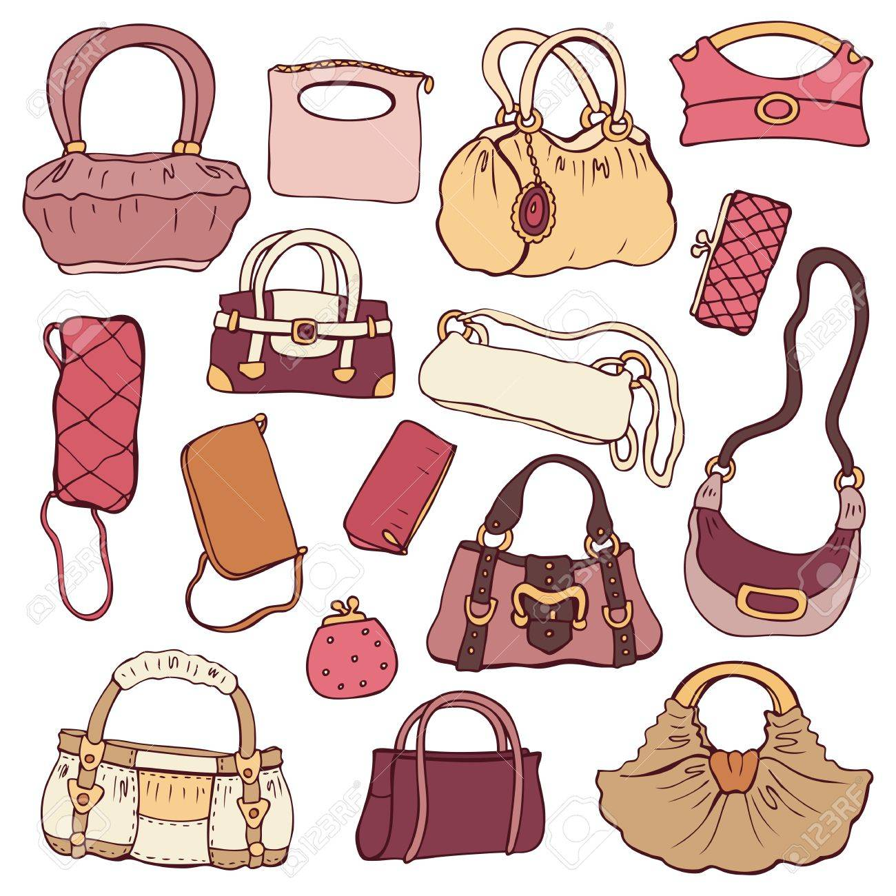 Collection women s handbags  Hand drawn vector isolated Stock Vector - 18410257