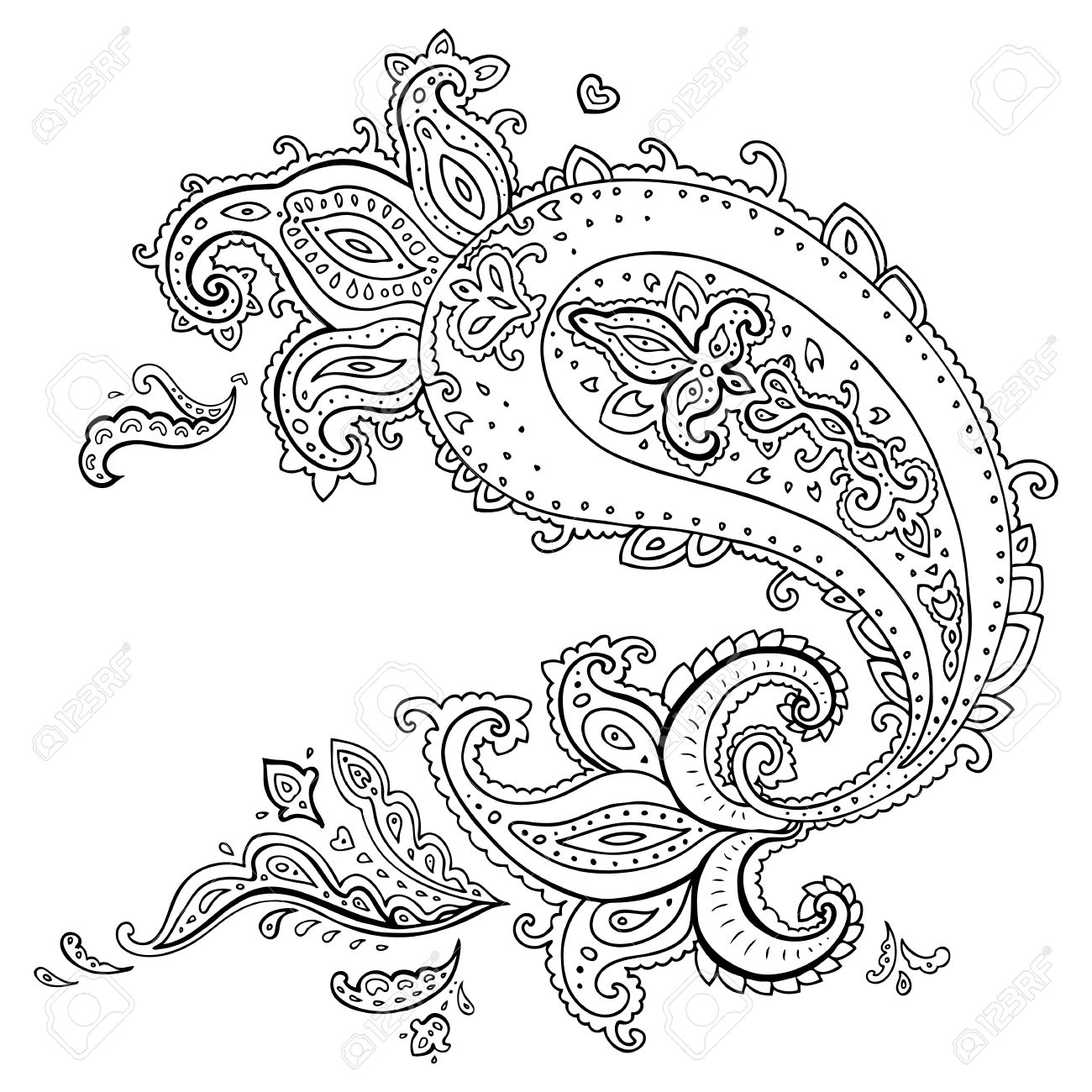 Paisley Ethnic Ornament Vector Illustration Isolated Royalty Free ...