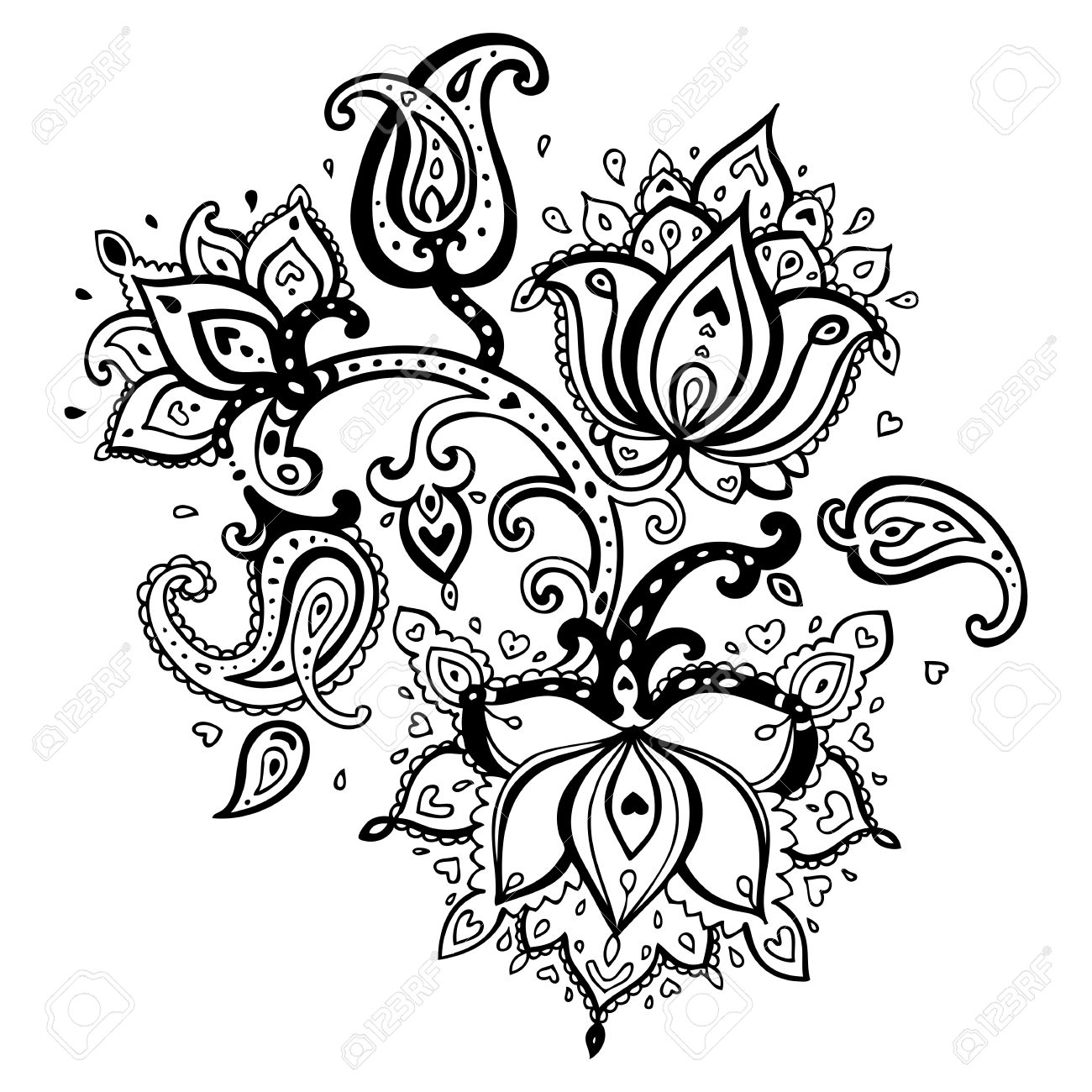 Paisley ornament   Lotus flower  Vector illustration isolated Stock Vector - 18516068