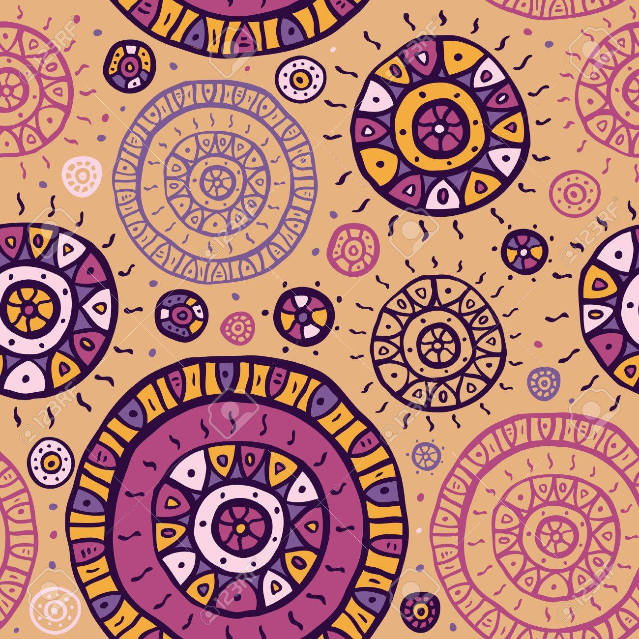 Stylized hand drawn seamless pattern  Vector background Stock Vector - 18990640