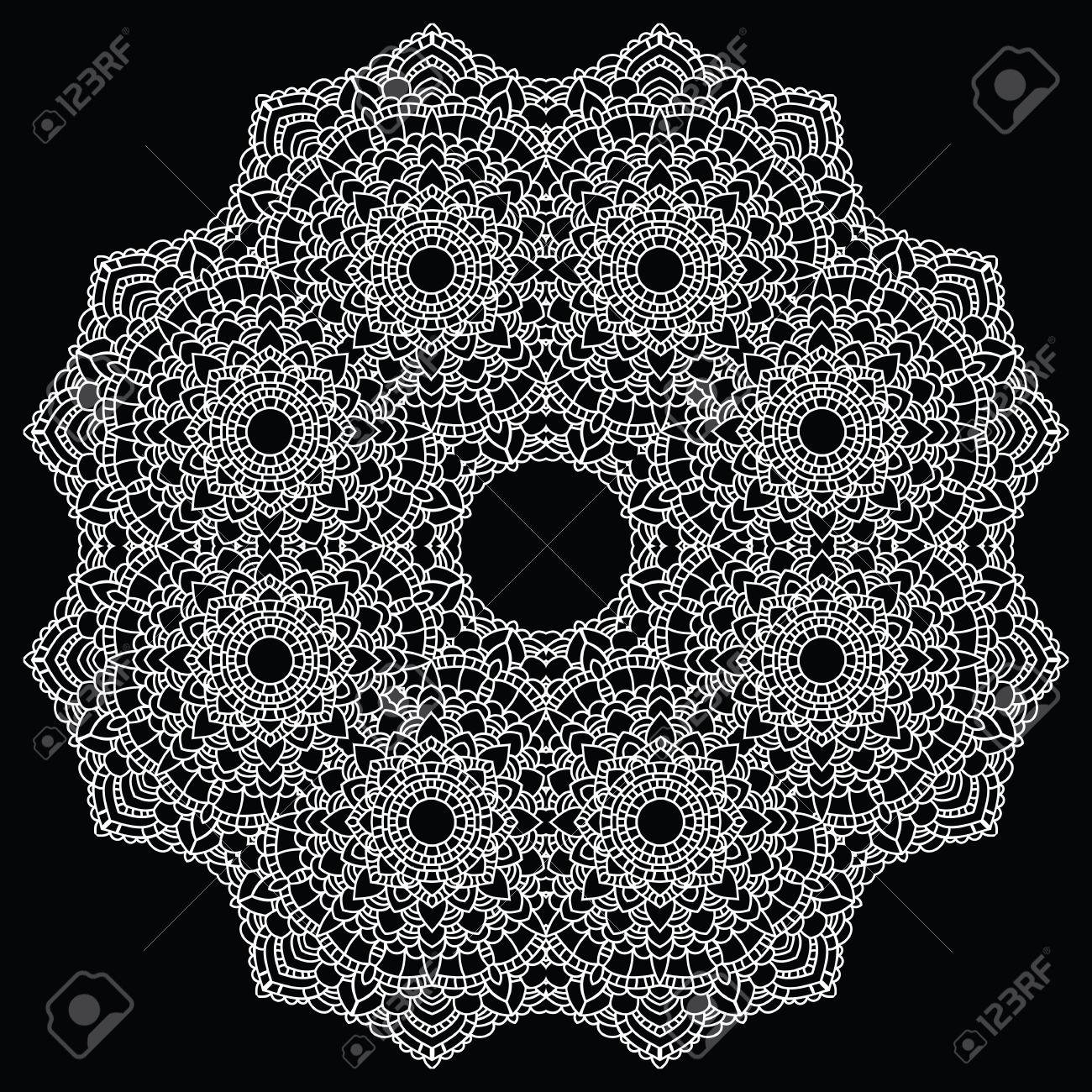 Vintage Handmade Knitted Doily. Round Lace Pattern. Vector ...