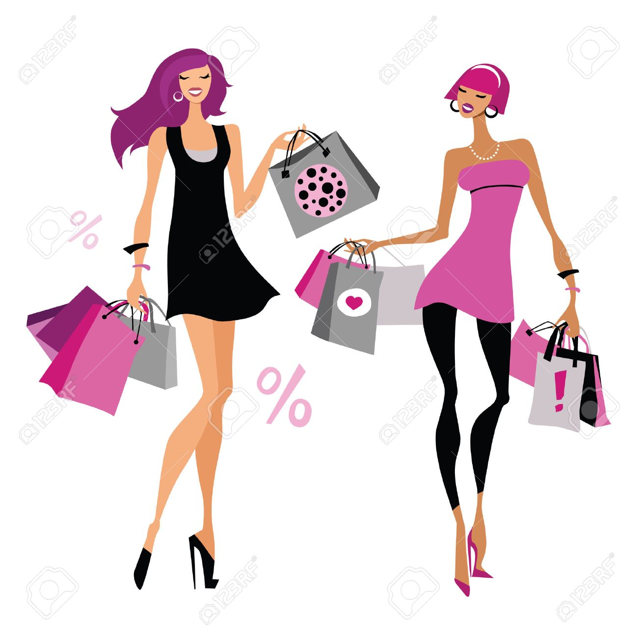 imagen silueta mujer con bolsas