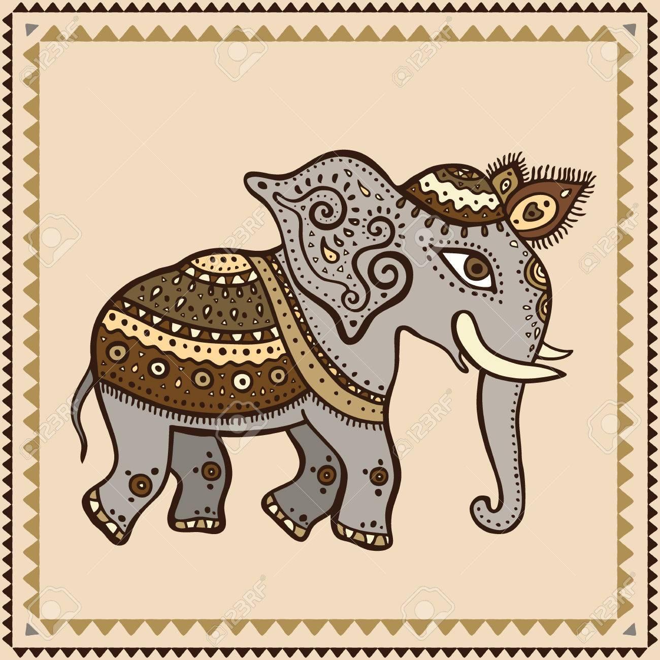 Elephant  Hand Drawn Vector illustration  Indian style Stock Vector - 23983563