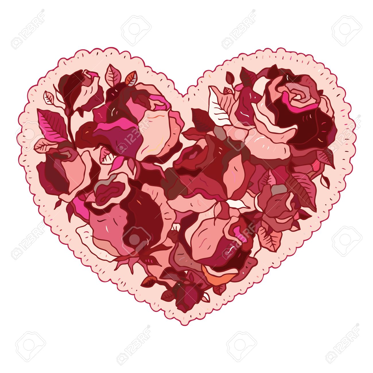 Elegance pattern Heart of flowers roses. Valentine Greeting card. Hand drawn vector illustration. Stock Vector - 24579879