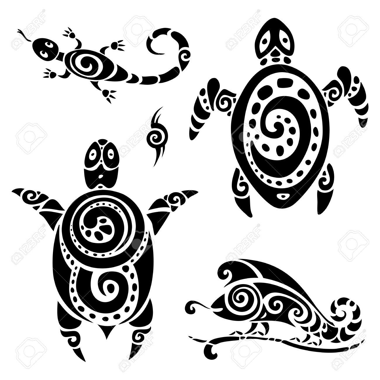 Turtle Polynesian Tattoo Tribal Pattern Set Vector Illustration