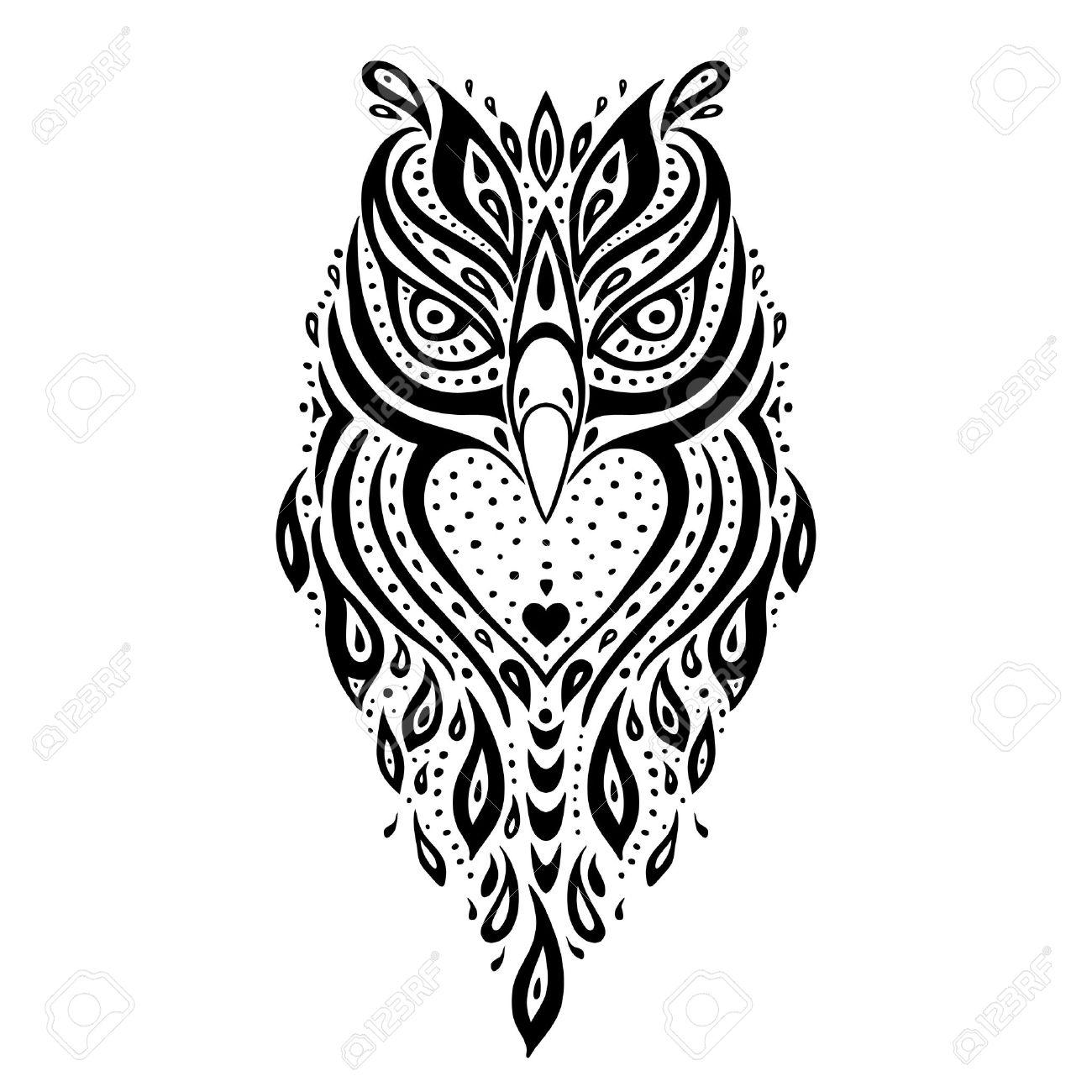 Decorative Owl Tribal Pattern Ethnic Tattoo Vector Illustration