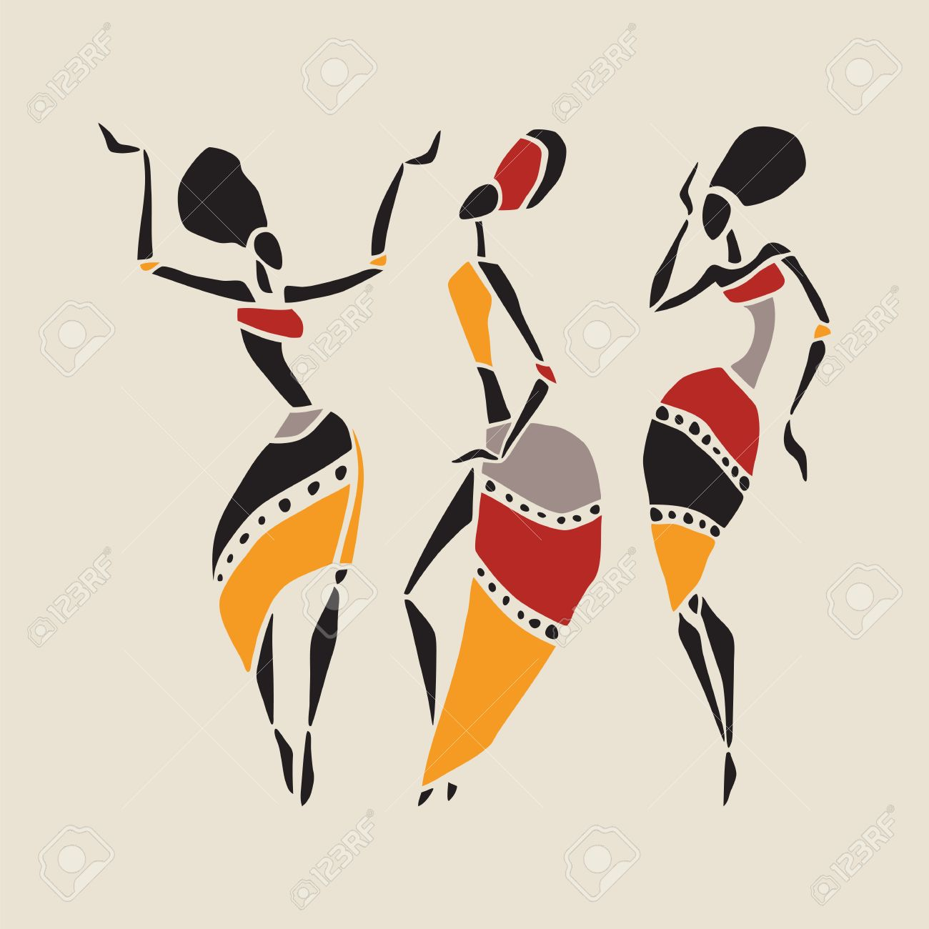 African dancers silhouette set. - 36752020