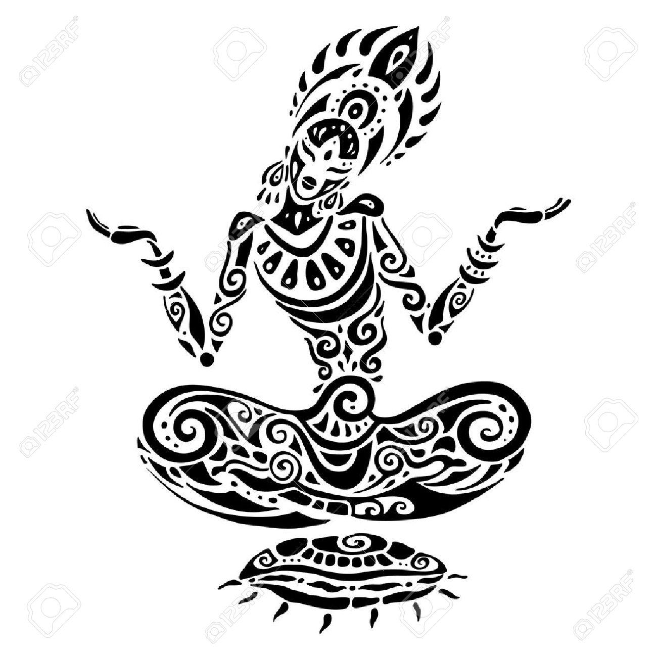 Yoga Meditation Lotus Pose Hand Drawn Illustration Tatouage De