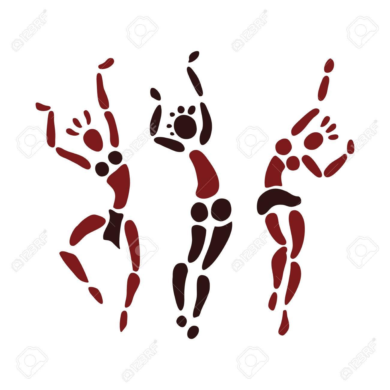 Las figuras de bailarines africanos  Gente silueta conjunto  El arte  primitivo  Ilustración del vector
