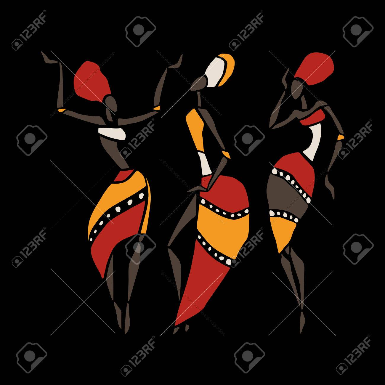 Figures of african dancers. Dancing woman in ethnic style. Vector Illustration. - 42792405