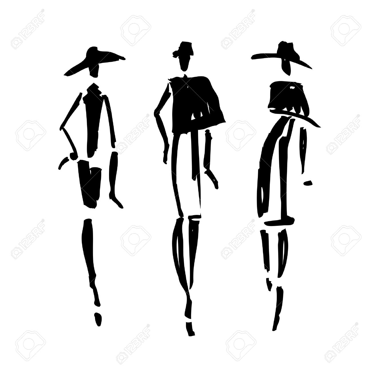 Beautiful Woman silhouette. Hand drawn fashion illustration. Stock Vector - 47537245