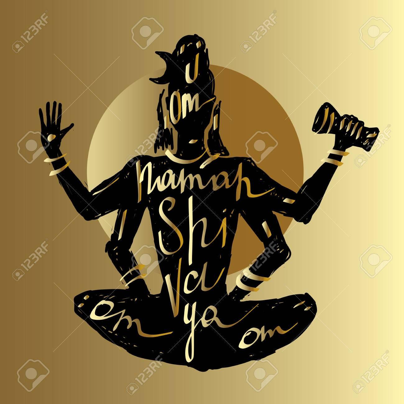 Yoga, Hand Typografie Plakat Gezeichnet. Shiva Meditation In Lotus ...