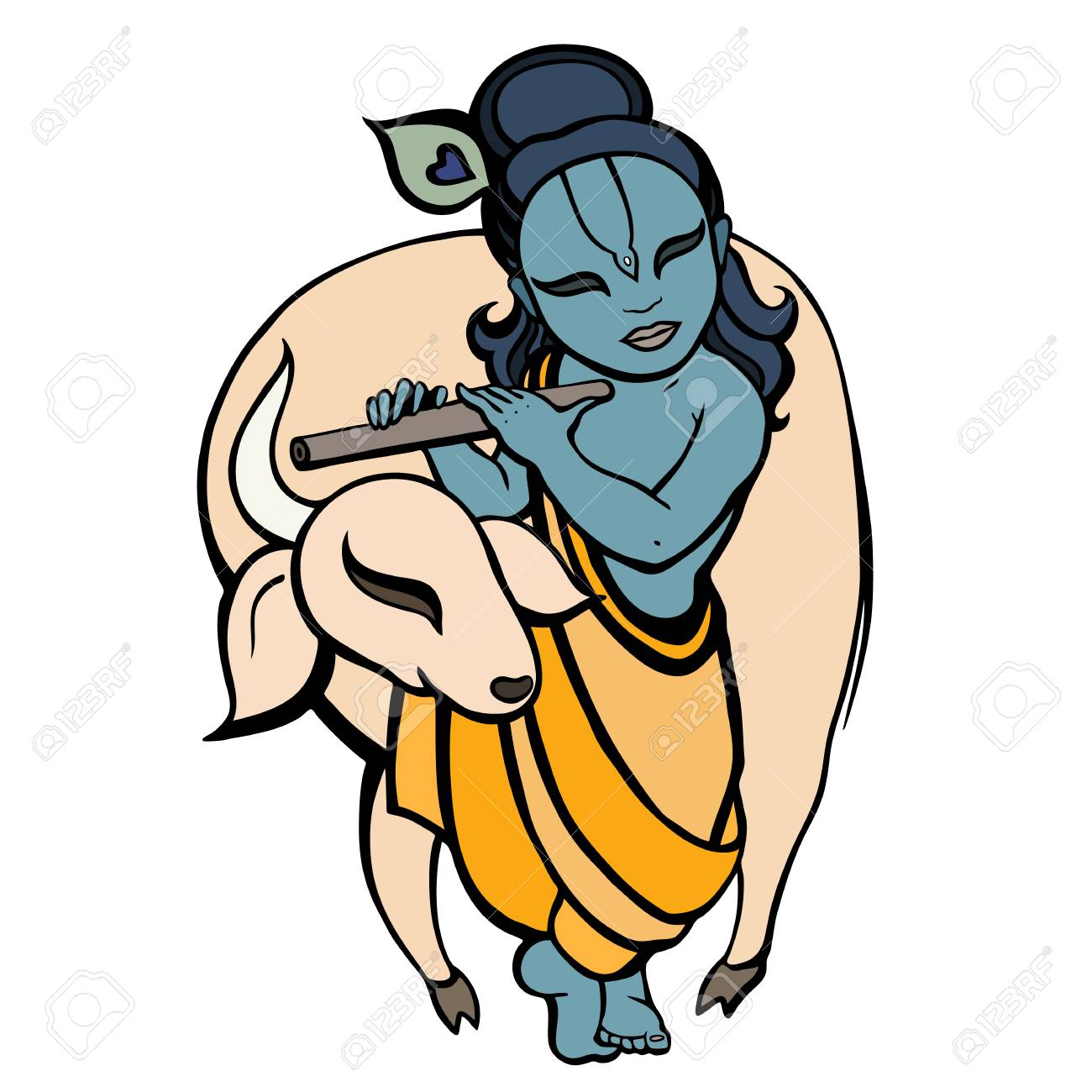 91694555 hindu god krishna playing flute behind bull religion symbol vector illustration